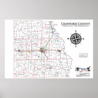 Mapa del recinto del condado de Crawford Posters