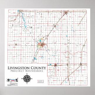 Mapa del recinto del condado de Livingston Poster