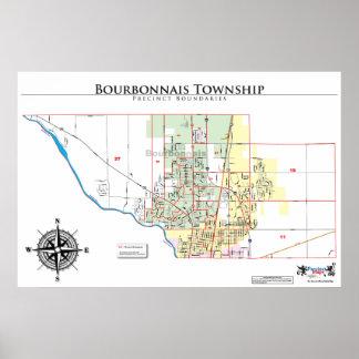 Mapa del recinto del municipio de Borbonés Póster