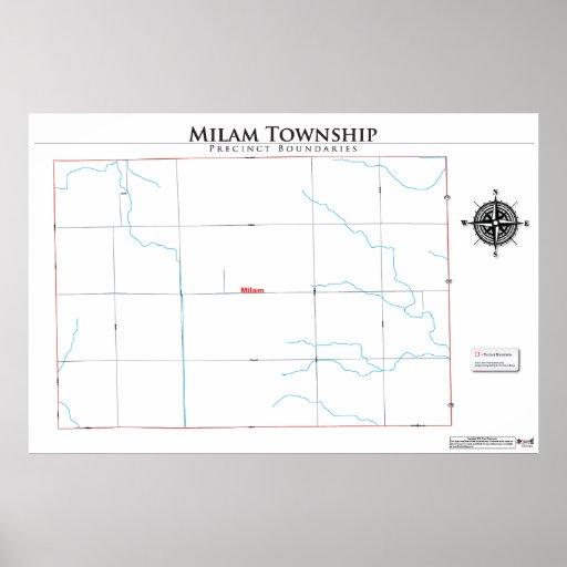 Mapa del recinto del municipio de Milam Impresiones