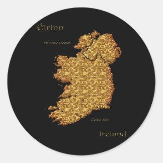 Mapa del regalo de calidad de Irlanda Eire Erin Pegatina Redonda