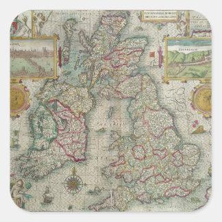 Mapa del Reino de Gran Bretaña y de Irlanda Pegatina Cuadrada
