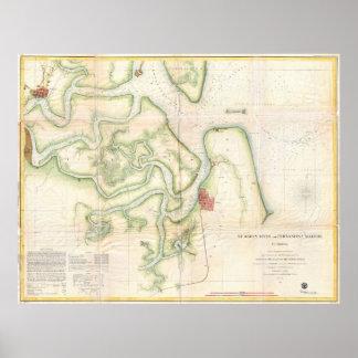Mapa del río del St Marys - FL/GA (1857) del Póster