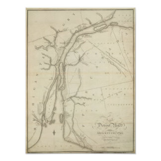 Mapa del río Detroit Impresiones