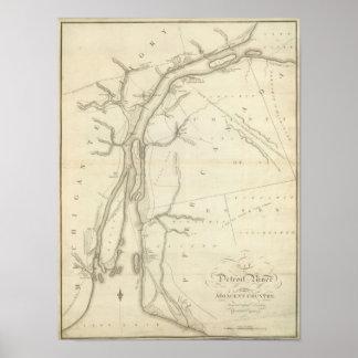 Mapa del río Detroit Póster
