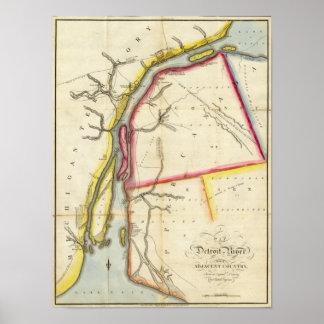 Mapa del río Detroit y del país adyacente Posters