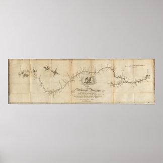 Mapa del río Misisipi Póster