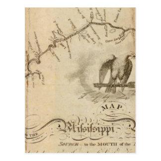 Mapa del río Misisipi Postales