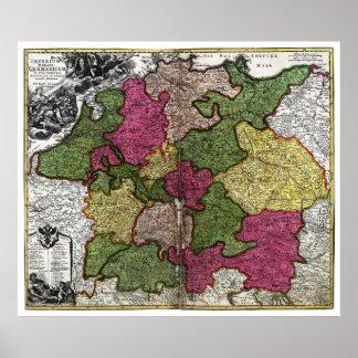 Mapa del Romano-Germanicum del Imperium circa 1700 Impresiones