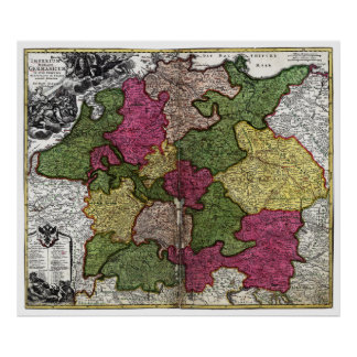Mapa del Romano-Germanicum del Imperium circa 1700 Póster