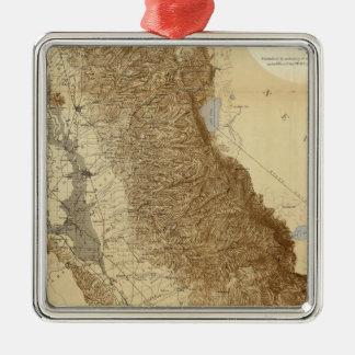 Mapa del San Joaquín Adorno Cuadrado Plateado