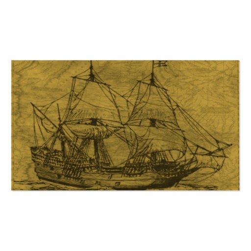 Mapa del Schooner y del vintage Tarjetas De Visita