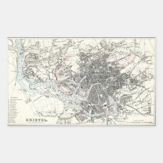 Mapa del siglo XIX antiguo de Bristol Inglaterra Rectangular Pegatinas