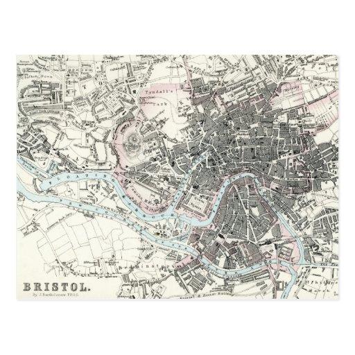 Mapa del siglo XIX antiguo de Bristol Inglaterra Tarjetas Postales