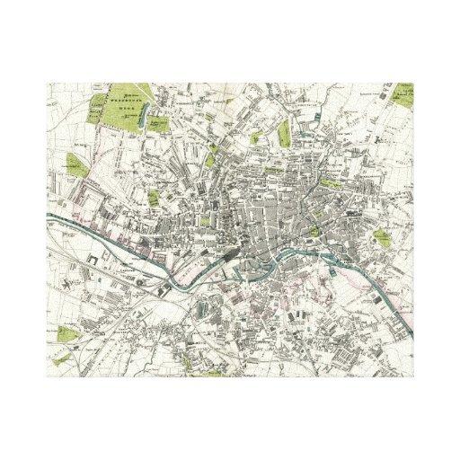 Mapa del siglo XIX antiguo de Leeds Impresion De Lienzo