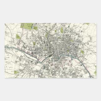 Mapa del siglo XIX antiguo de Leeds Pegatina Rectangular