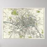 Mapa del siglo XIX antiguo de Leeds Posters