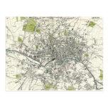 Mapa del siglo XIX antiguo de Leeds Tarjeta Postal