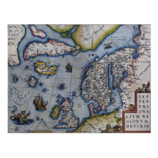 Mapa del siglo XVI de Escandinavia Postal