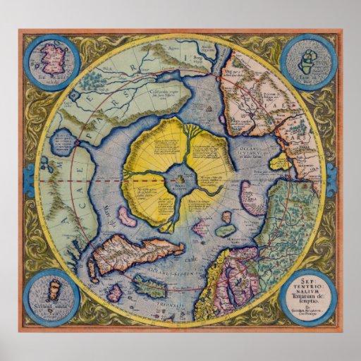 Mapa del siglo XVI de Mercator Polo Norte - poster