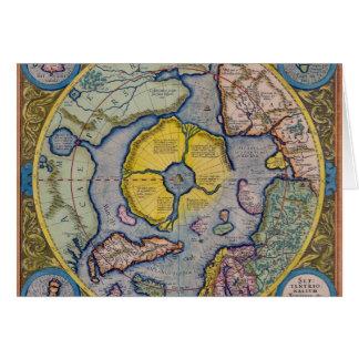 Mapa del siglo XVI de Mercator Polo Norte Felicitacion
