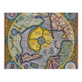 Mapa del siglo XVI de Mercator Polo Norte Tarjetas Postales