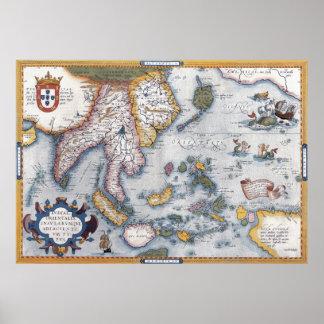 Mapa del siglo XVI del vintage de S.E. Asia Póster