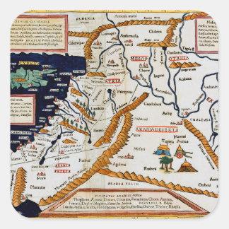 Mapa del siglo XVI del vintage del Oriente Medio Pegatina Cuadrada