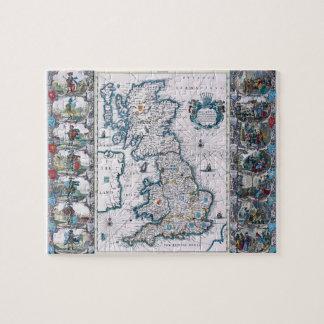 Mapa del siglo XVII antiguo de Inglaterra Puzzle
