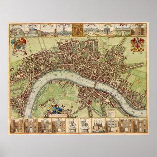 Mapa del siglo XVII antiguo de Londres W. Hollar Poster