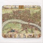 Mapa del siglo XVII antiguo de Londres W. Hollar Alfombrillas De Raton