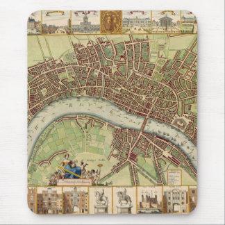 Mapa del siglo XVII antiguo de Londres W. Hollar Alfombrilla De Ratón