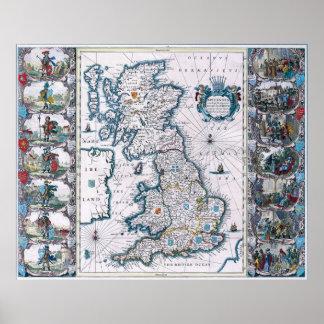 Mapa del siglo XVII antiguo Poster