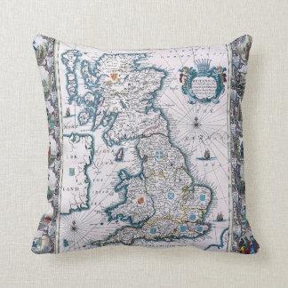 Mapa del siglo XVII de Inglaterra Almohadas