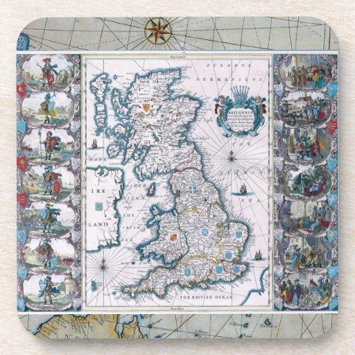 Mapa del siglo XVII de Inglaterra Posavasos De Bebidas
