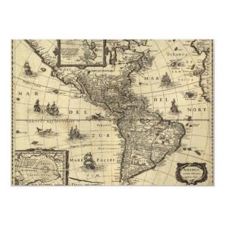 """mapa del siglo XVII de las Américas Invitación 4.5"""" X 6.25"""""""