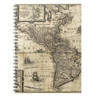 mapa del siglo XVII de las Américas Libros De Apuntes