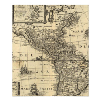 mapa del siglo XVII de las Américas Fotografías