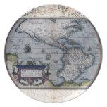Mapa del siglo XVII de las Américas Platos Para Fiestas