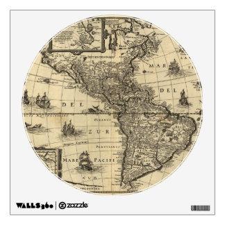 mapa del siglo XVII de las Américas Vinilo Adhesivo