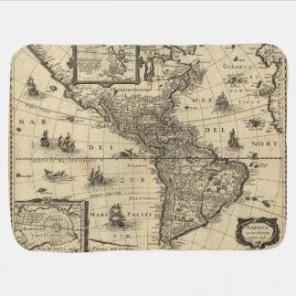 mapa del siglo XVII de las Américas Manta De Bebé