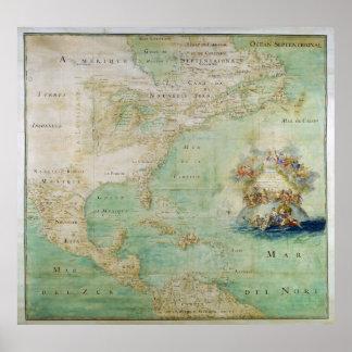 Mapa del siglo XVII las Américas de Claude Bernou Póster