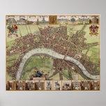 Mapa del siglo XVII magnífico de Londres Inglaterr Posters
