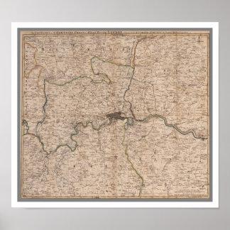 Mapa del siglo XVIII antiguo de Londres Póster