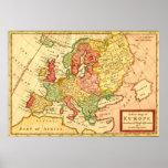 Mapa del siglo XVIII antiguo del Moll de Europa He Posters