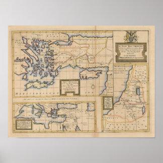 Mapa del siglo XVIII del nuevo testamento Impresiones