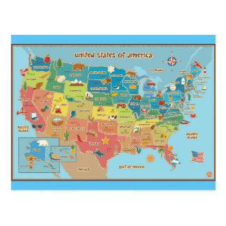 Mapa del símbolo de los Estados Unidos de América Tarjetas Postales