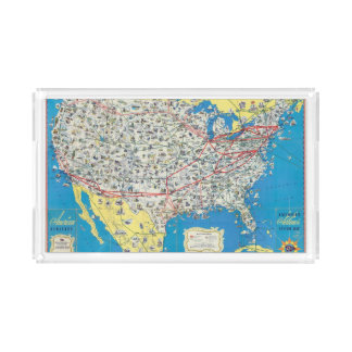 Mapa del sistema de American Airlines Bandeja Rectangular