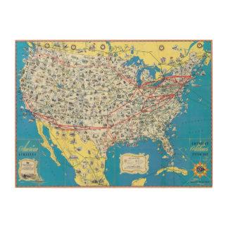 Mapa del sistema de American Airlines Cuadro De Madera