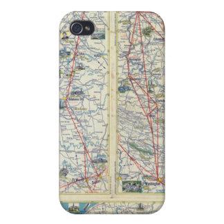 Mapa del sistema de American Airlines del dorso iPhone 4 Fundas